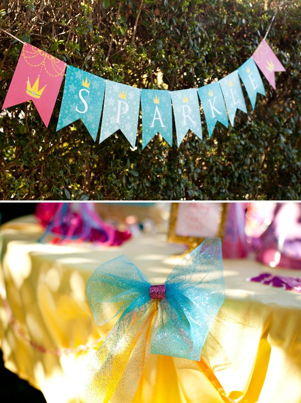 free printable princess sparkle banner and tulle bows