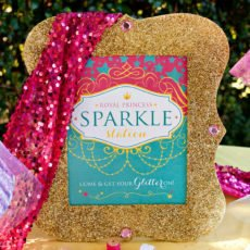 glittered gold frame with free printable sparkle station sign