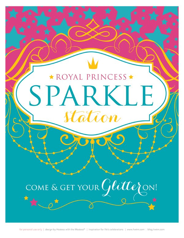 royal sparkle station printable birthday sign
