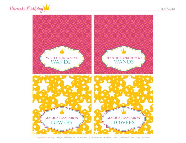 free princess party printable tent cards