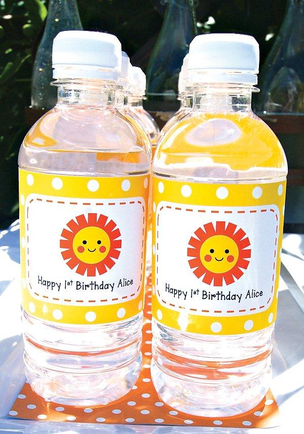 sun and polka dot water bottles