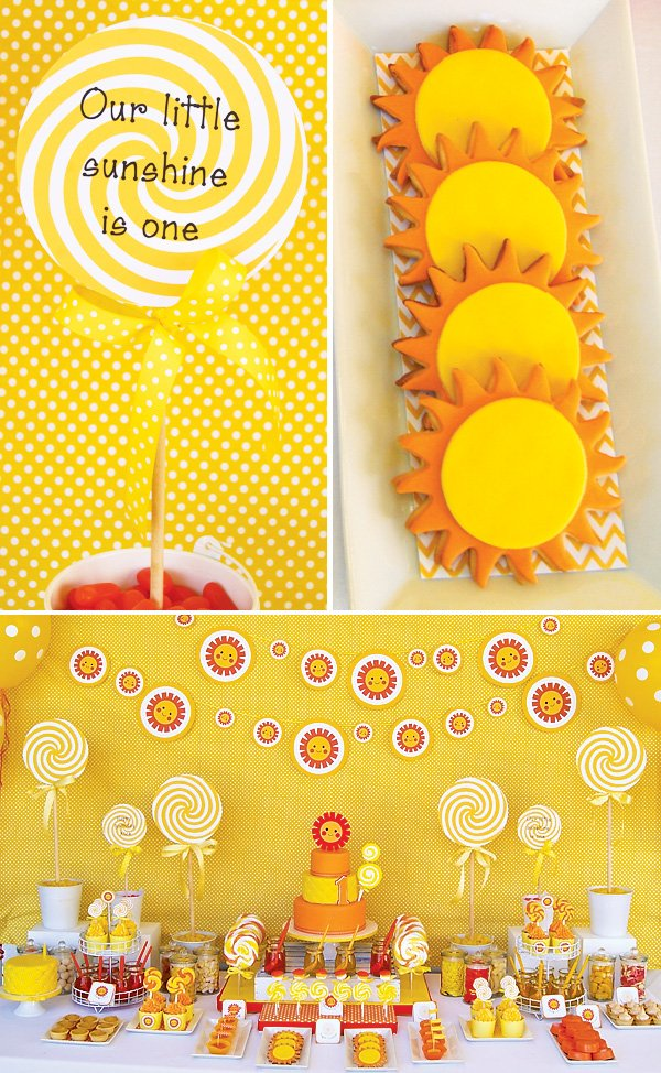 sunshine and lollipops first birthday theme