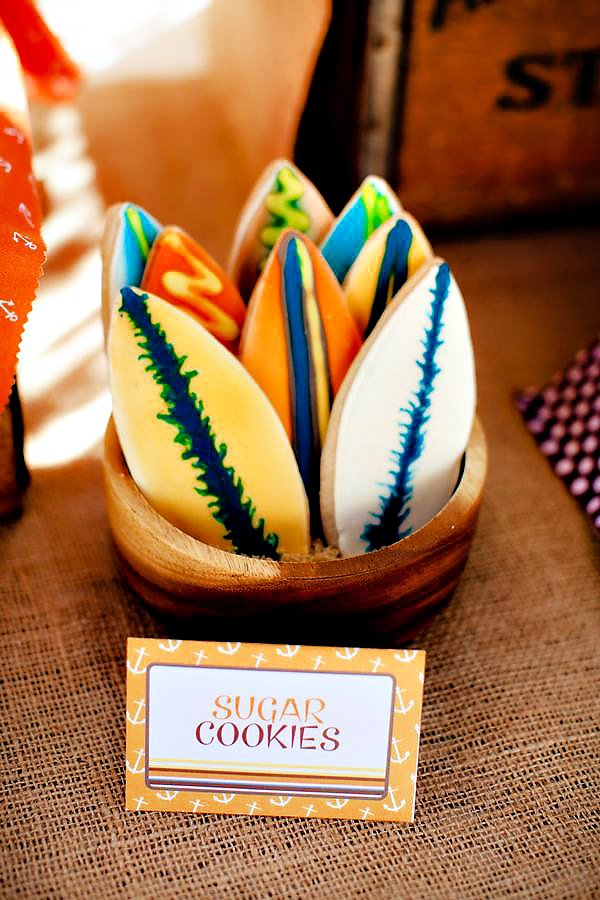 surf board sugar cookies