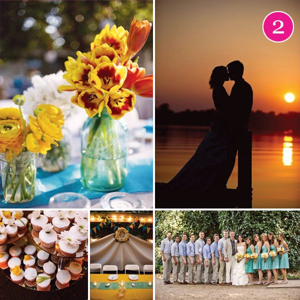 Charming Blue & Yellow Vineyard Wedding