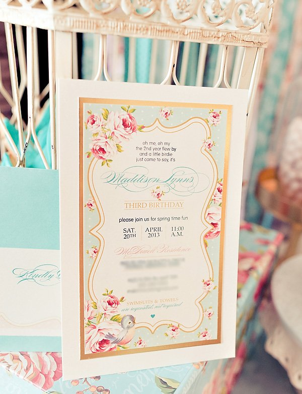 vintage bird invitation