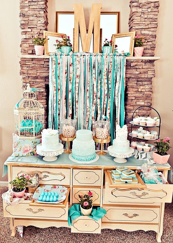 vintage rose garden dessert table