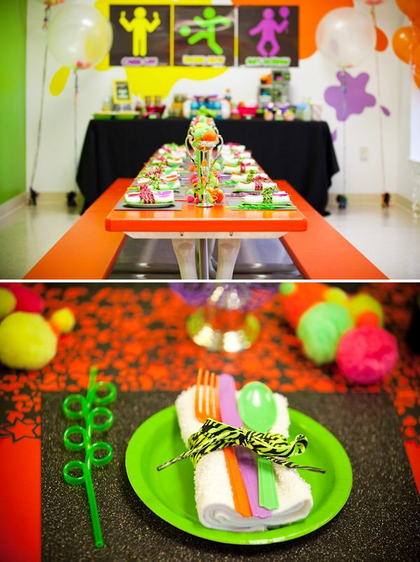 80 39 s neon inspired work it out theme birthday party for 80 s table decoration ideas