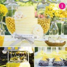 yellow wedding dessert table