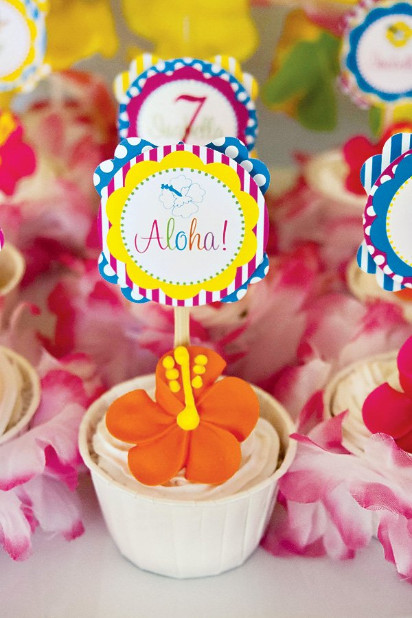 aloha cupcake toppers