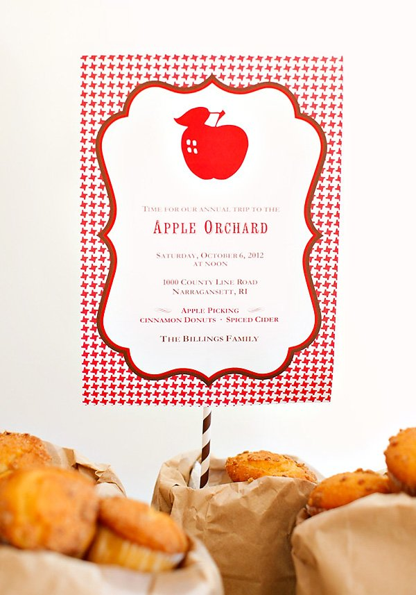 apple picking party invitation