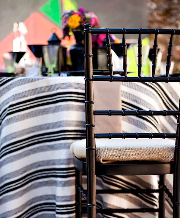 Black Chivari Chairs with Burlap Seat Covers