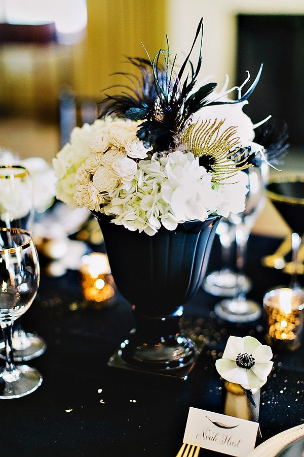Timeless black feather gold wedding inspiration