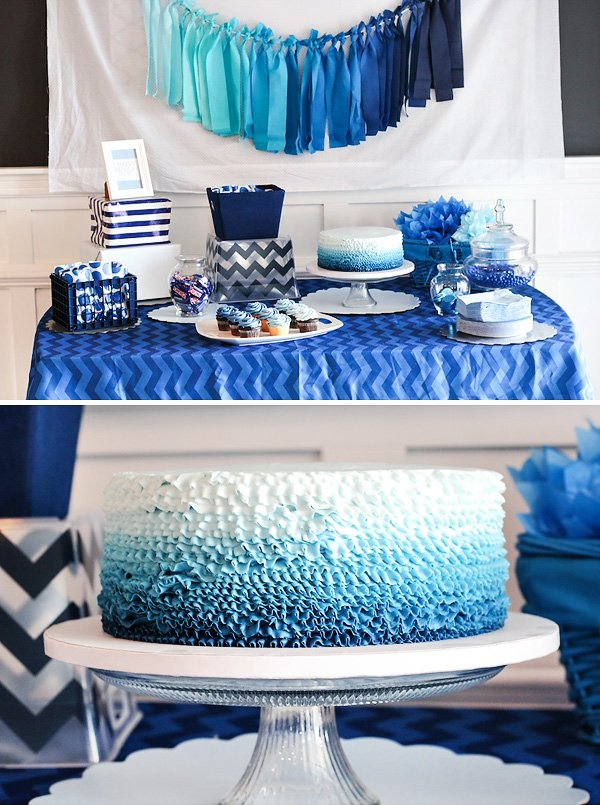 blue ombre dessert table boys birthday party hostess with the