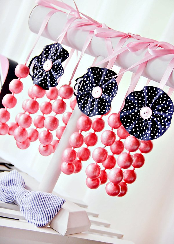 pink gum ball candy necklaces