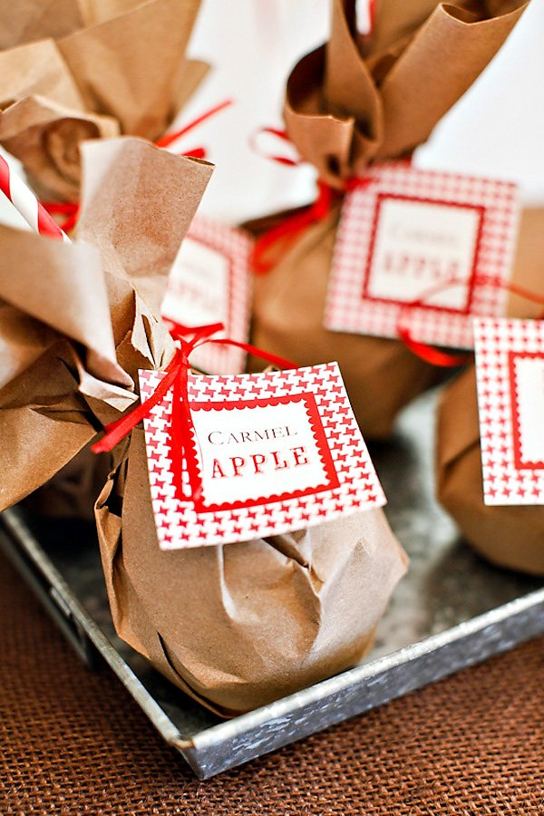 wrapped caramel apples