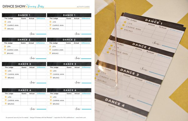 Free Printables - Dancing with the Stars Score Cards