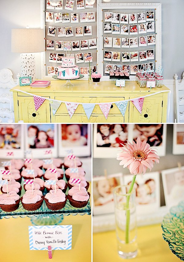 pretty bunting themed first birthday hostess with the mostess. Black Bedroom Furniture Sets. Home Design Ideas