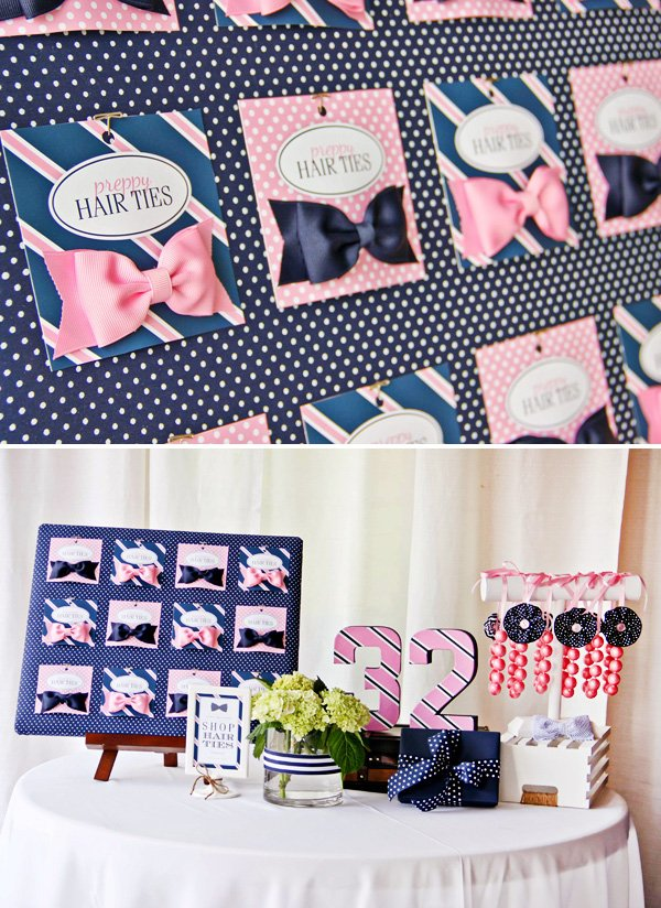 hairbows in pink and navy