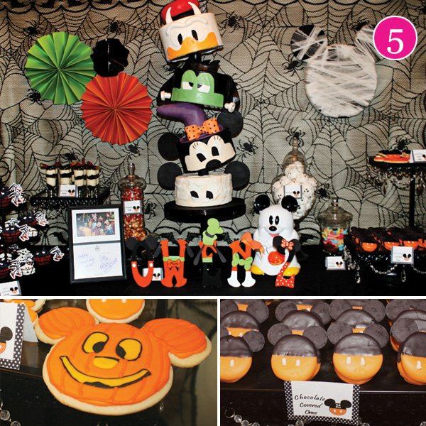 halloween inspired party with a mickey cake
