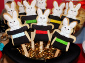 bunnies in black hat cookies