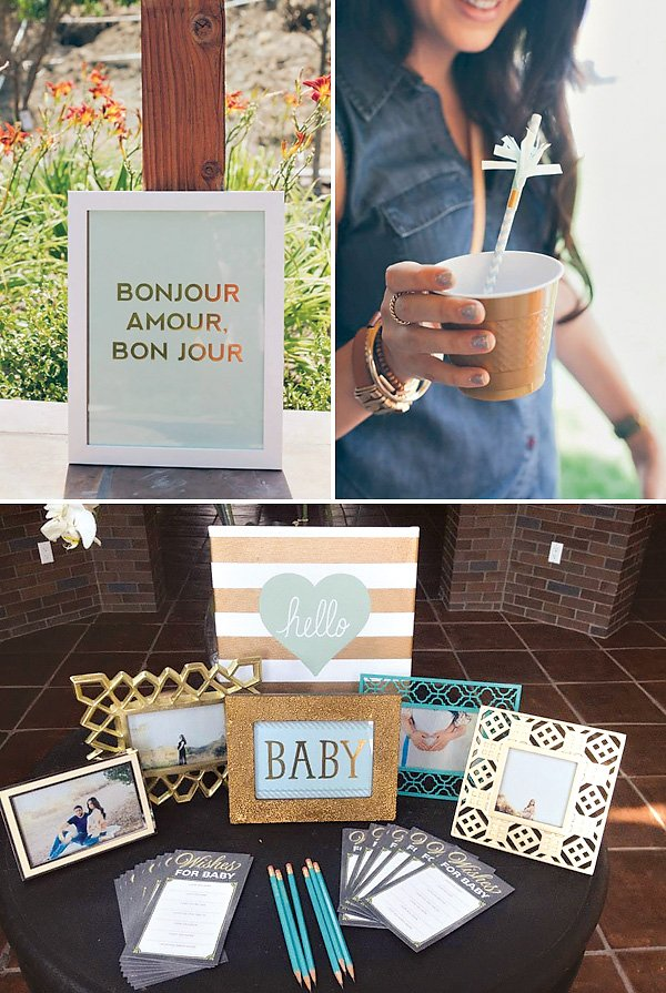mint and metallic baby shower ideas