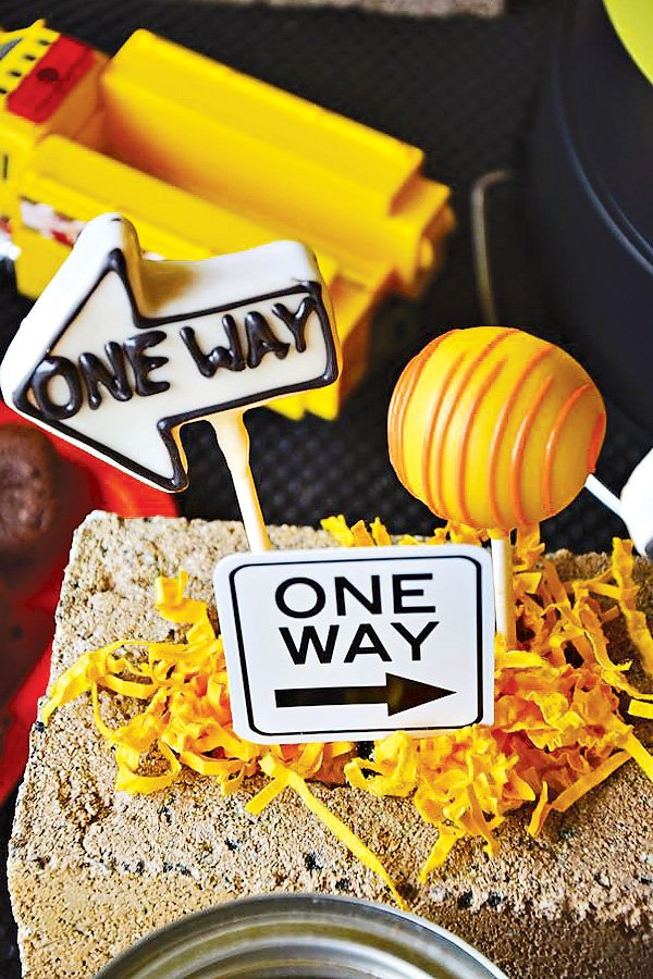one way sign cake pops for a construction party