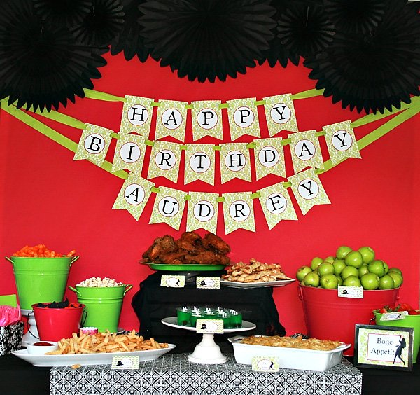 Red, Green & Black Food Table