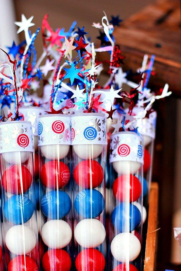 patriotic gum ball tubes
