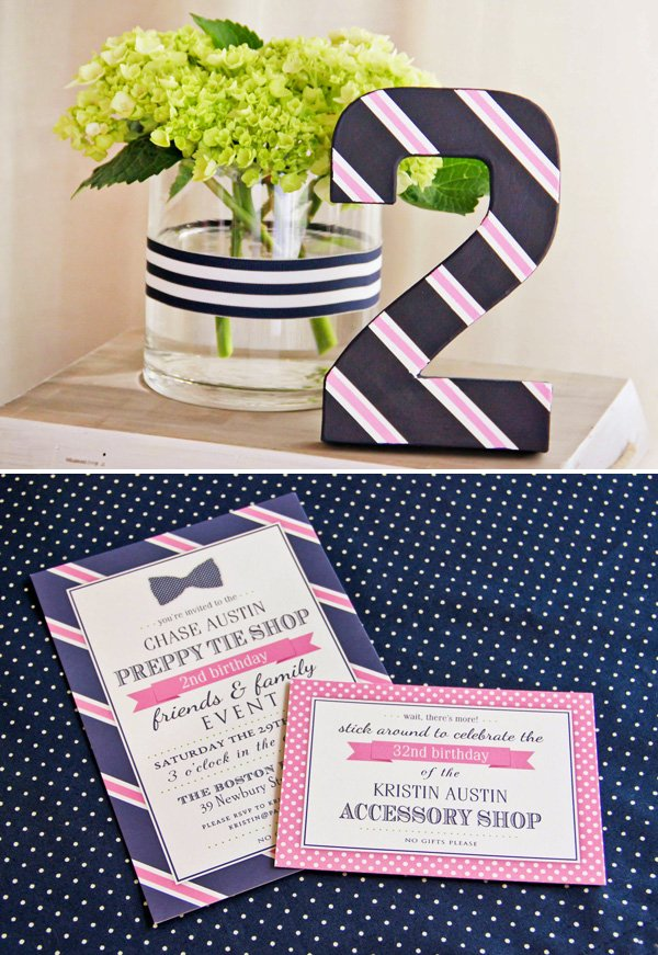 polka dot party invitation with preppy style