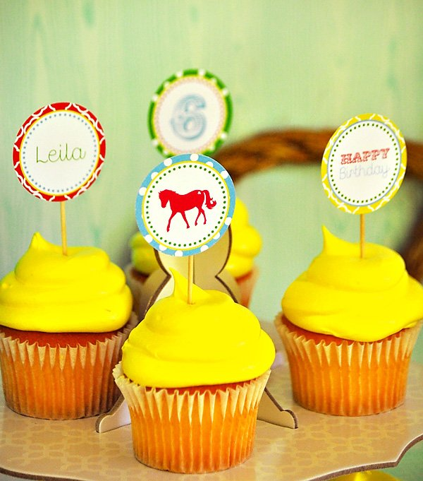 Pony Party Printable Cupcake Toppers