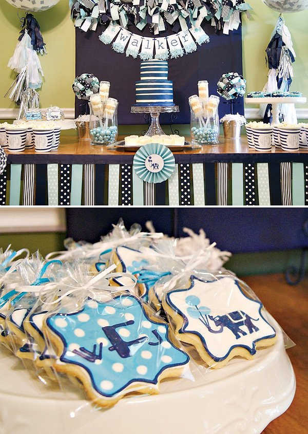 preppy blue dessert table
