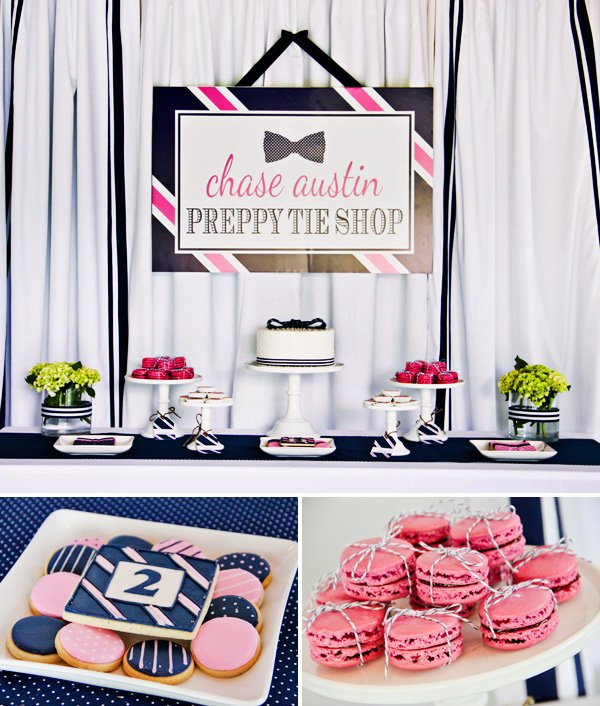 Pink Navy Preppy Tie Birthday Party Hostess with the Mostess