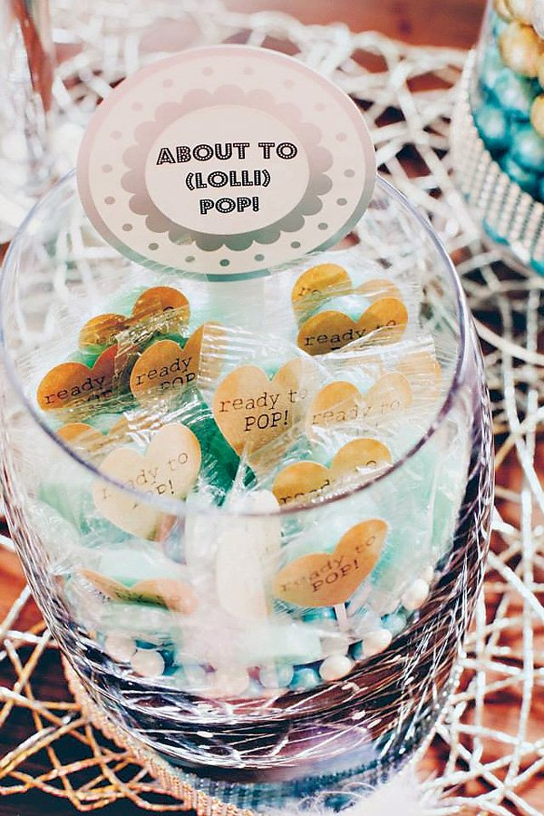 Cool Mint Metallic Baby Love Shower Hostess With The Mostess