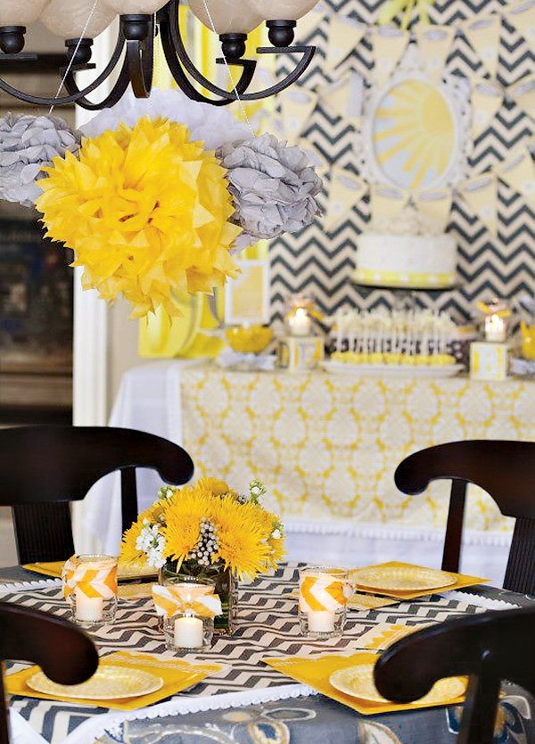 yellow chevron tablescape