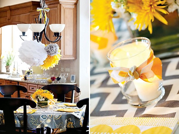 yellow chevron ripped fabric decorations