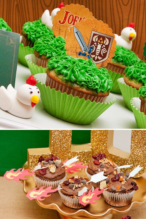 zelda cupcakes for a zelda themed birthday party