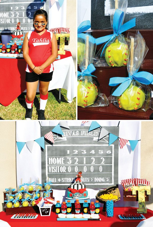 girls softball birthday party dessert table