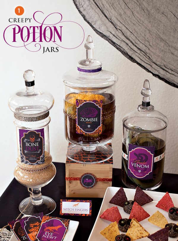 diy creepy potion jars for halloween
