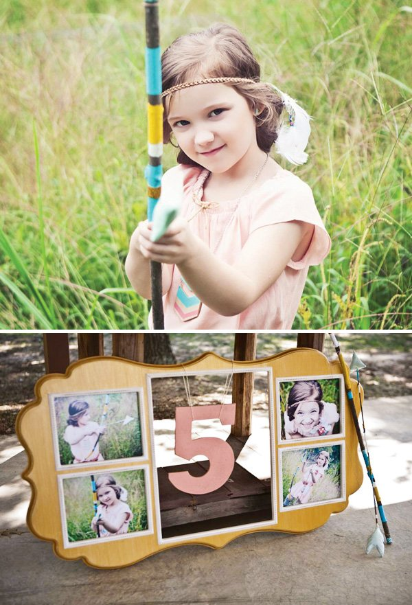 5th birthday party sign and bow and arrow theme