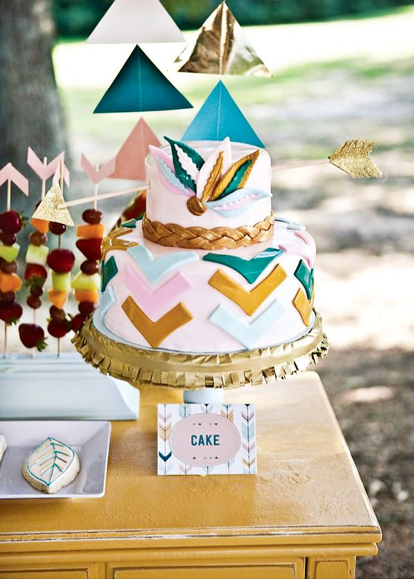 amazing chevron teal, pink and gold bow and arrow Brave cake