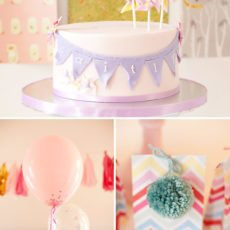 Purple Pinwheel & Bunting Birthday Cake