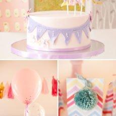 Purple Pinwheel & Bunting Birthday Cake