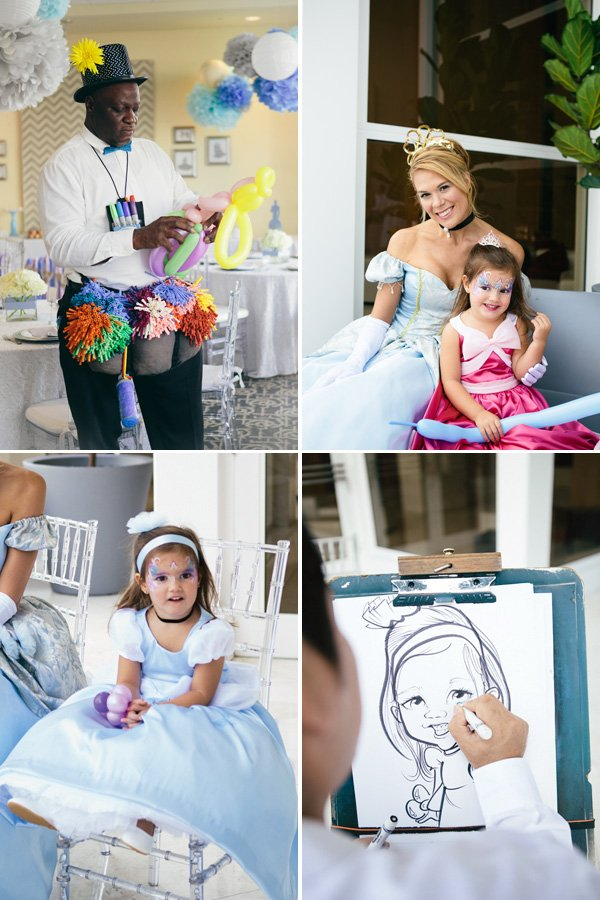 face painting, balloon animal, and caricature drawing birthday party activities