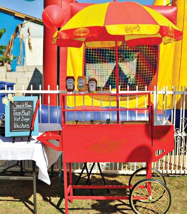 birthday party hotdog cart