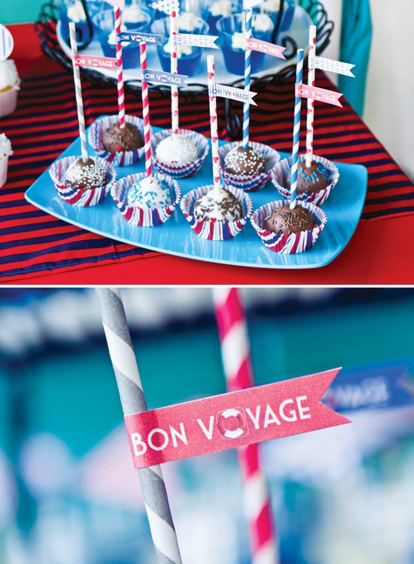 bon voyage nautical cake pops with party flags