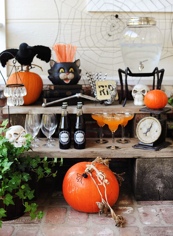 pumpkin and bone decor