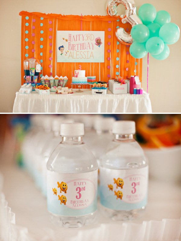 bubble guppie dessert table ideas for a kids birthday party