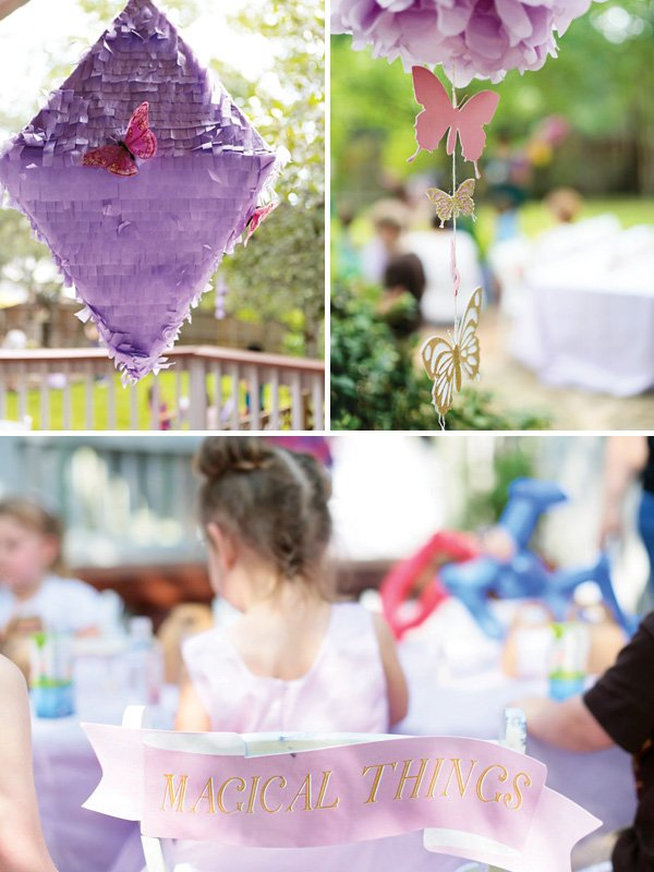 purple butterfly pinata, butterfly garland, and scroll chair backs
