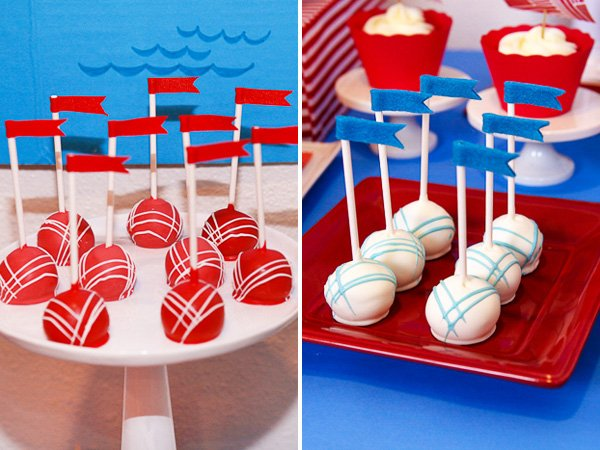 red and blue cake pops