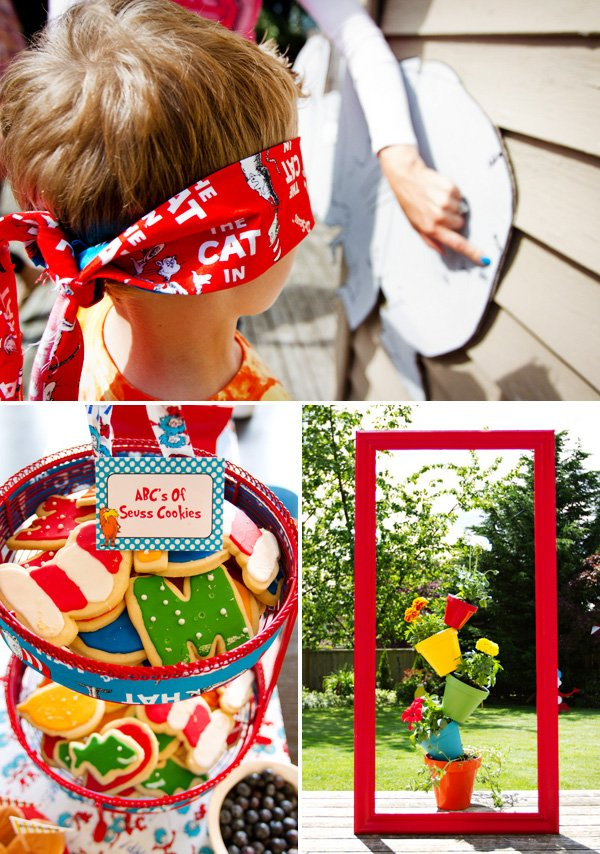 cat in the hat themed birthday party game, desserts and decor